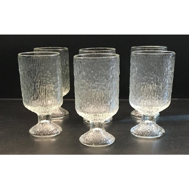 Vintage 1970s Indiana Textured Crystal Ice Pattern Water Goblets - Set of 6 - Image 3 of 6