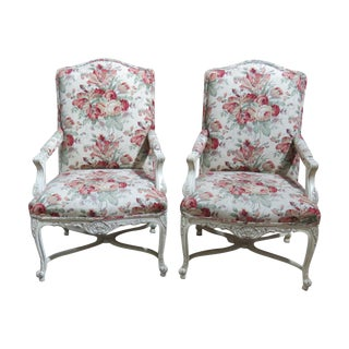 Louis XVI-Style Distressed Painted Fauteuils - A Pair