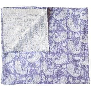 Lavender Paisley Kantha Throw