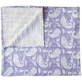Lavender Paisley Kantha Throw