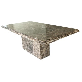 Modernist Pedestal Marble Dining Table