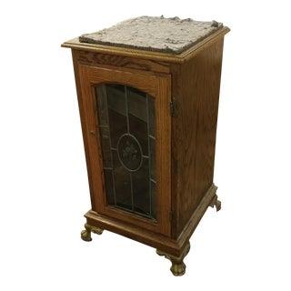Antique Slot Machine Oak stand cabinet w/Etched Glass door