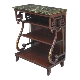 Unusual English Late Regency Mahogany Pier or Console Table, Faux Marble Top