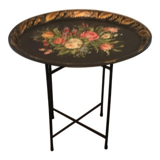 Hand Painted Flower Tole Folding Table