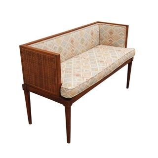 Caned Sides Upholstered Bench or Settee