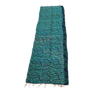 Turquoise Silk Kantha Table Runner