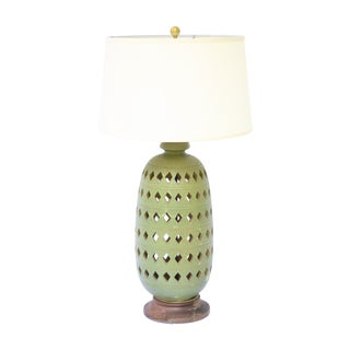 Boho Chic Morrrocan Large Green Ceramic Lamp