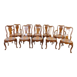 1990s Walnut Queen Anne Style Dining Room Chairs - Set of 10
