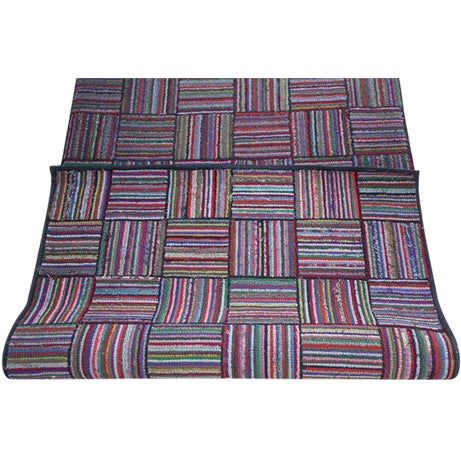 Amazing Long Hand-Hooked Runner Rug in Log Cabin Pattern # 2 - Image 1 of 5