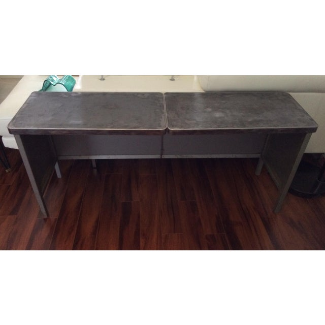 Vintage Steel Industrial Console Table - Image 2 of 7