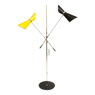 Double Articulating Arm Cone Floor Lamp in the Manner of Guariche