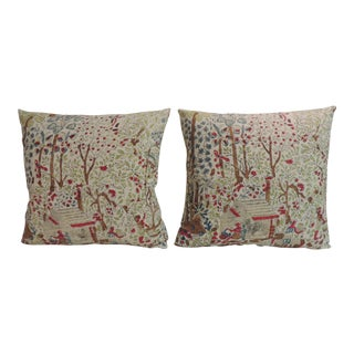 Pair of Antique Hand-Blocked Indian Decorative Pillows