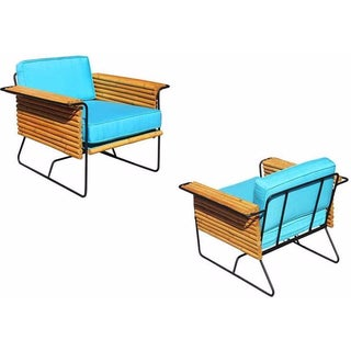 Wroughtan Iron & Rattan Ski Club Chairs - A Pair