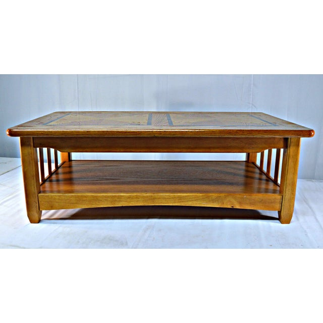 solid wood country style coffee table chairish. Black Bedroom Furniture Sets. Home Design Ideas