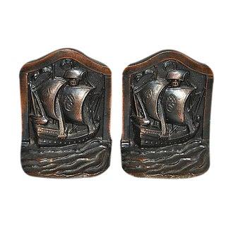 Galleon 'Voyager' 1920s Bronze Bookends - Pair