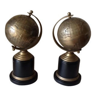 Vintage Black & Bronze Globe Bookends - A Pair