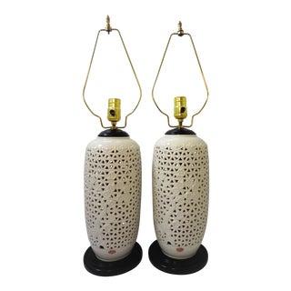 Vintage Blanc De Chine Pierced Ceramic White Table Lamps - A Pair