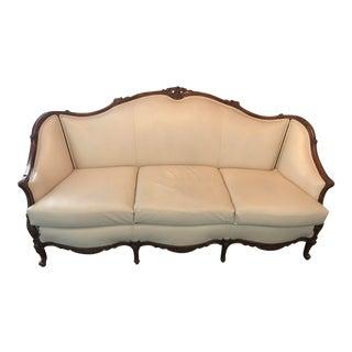 Italian Leather Vintage French Sofa