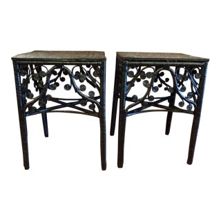 Gloss Black Curly Wicker Side Tables - a Pair