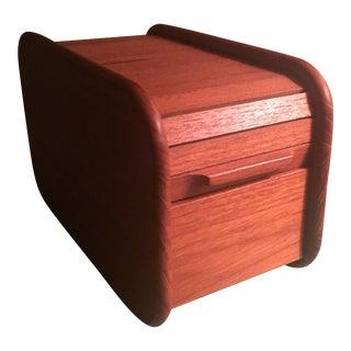 Vintage Teak Roll Top Box