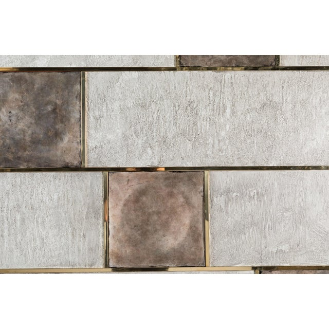 Art Wall Panel With Brass, Distressed Silver Leaf and Textured Finish by Paul Marra - Image 2 of 8