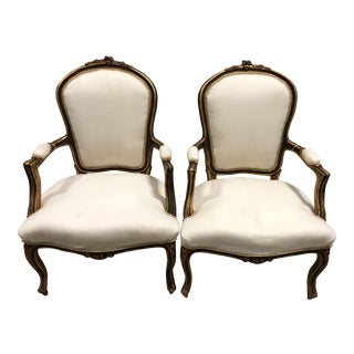 Vintage Louis XV French Hand-Carved Upholstered Arm Chairs - A Pair