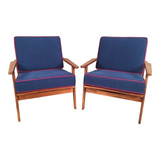 Mid-Century Arm Chairs Restored With New Upholstery - Pair
