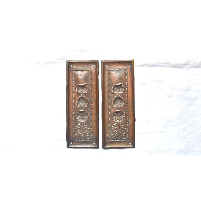 1910 Art Nouveau Copper Lotus Door Push Plates - Image 6 of 9