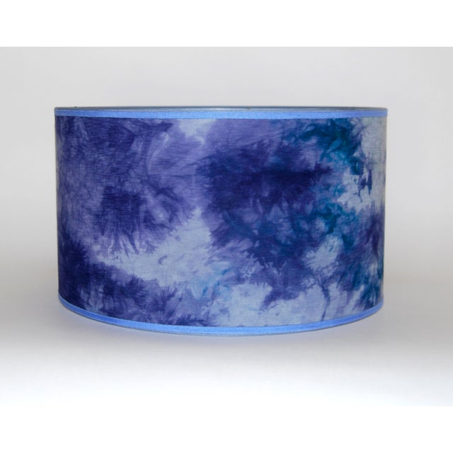 Blue Hand Dyed Fabric Lampshade - Image 2 of 5