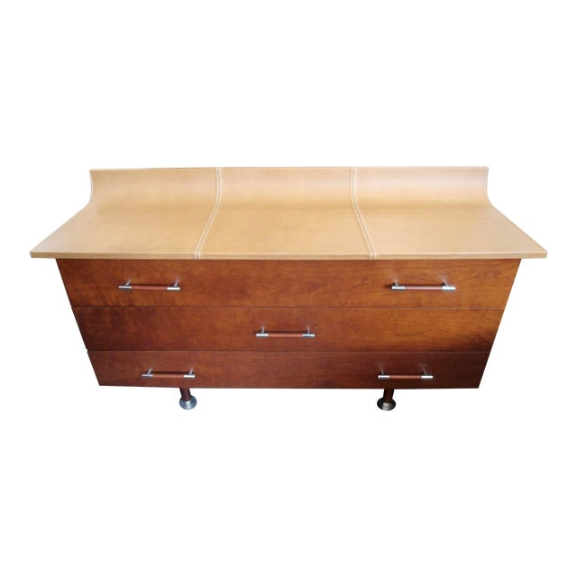 Giorgetti High Curved Leather Top Dresser - Image 1 of 5