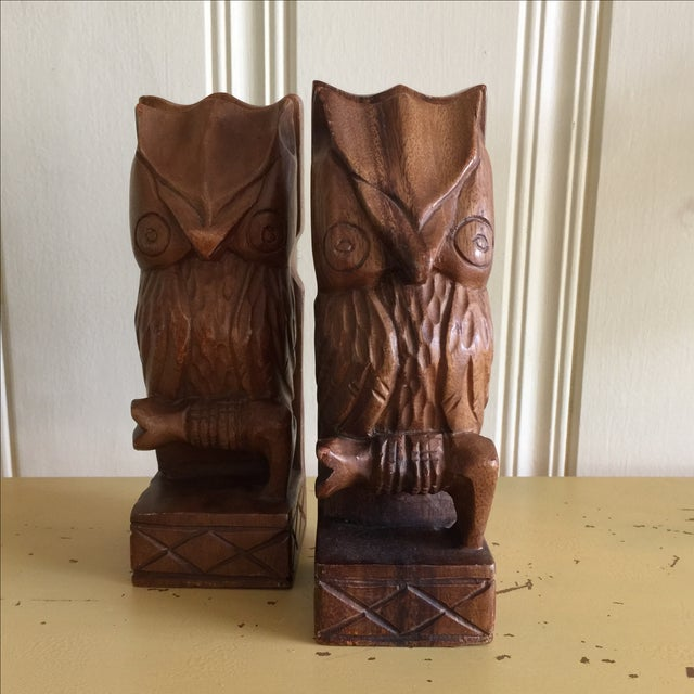 Vintage Rustic Carved Owl Bookends - A Pair - Image 7 of 10