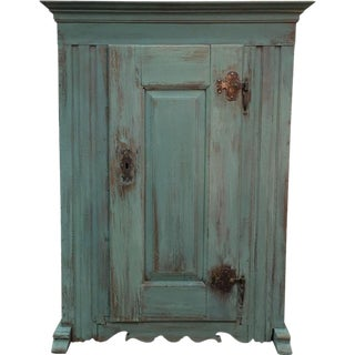 French Antique Green Painted Oak Rustic Cabinet
