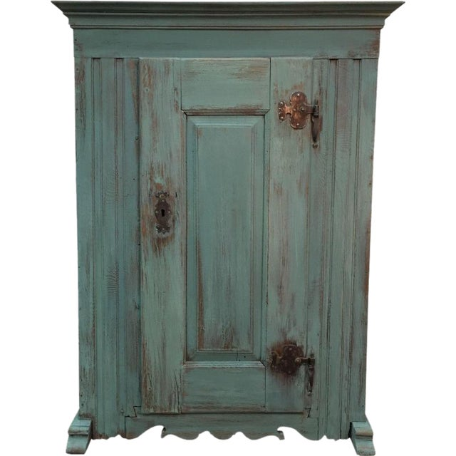 French Antique Green Painted Oak Rustic Cabinet - French Antique Green Painted Oak Rustic Cabinet Chairish