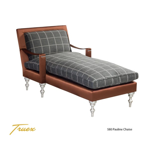"""Truex American Furniture Plaid Flannel and Solid Silk """"Pauline Chaise"""" - Image 2 of 3"""