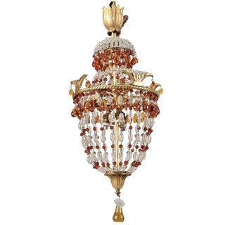 19th Century French Bronze Beaded Chandelier