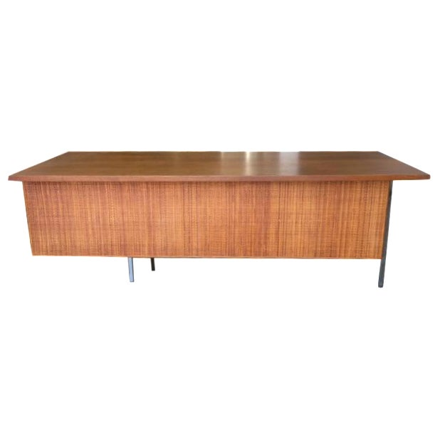 Mid-Century Executive Knoll Desk With Cane Detail - Image 1 of 7