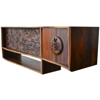 Exotic Acacia Wood Live Edge Slab Credenza or Dresser