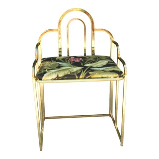 Reupholstered Brass & Floral Vanity Chair