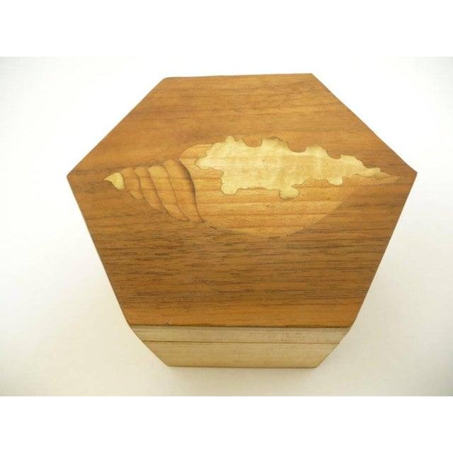 Vintage Hexagon Sea Shell Marquetry Inlay Wood Keepsake Box - Italy - Image 2 of 7