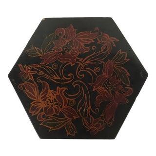 Vintage Black Lacquer Hexagon Box