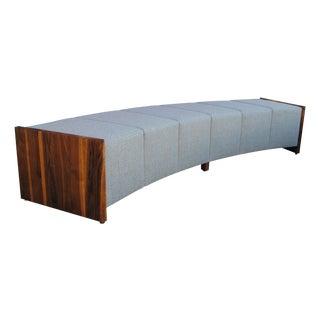 Large Modern Curved Walnut Bench