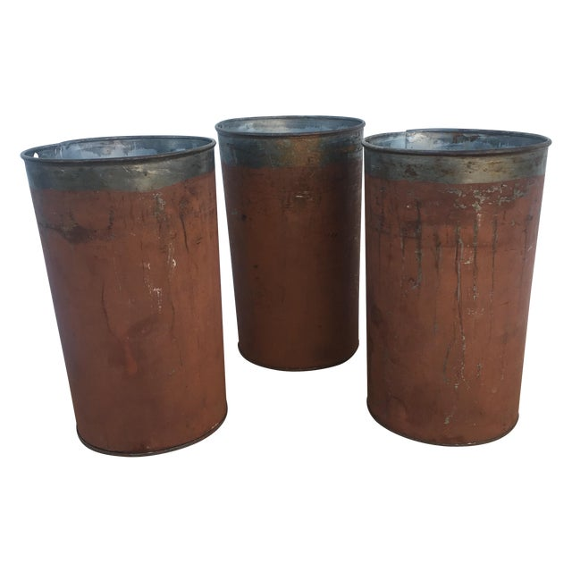 Image of Antique Red Maple Syrup Sap Buckets - Set of 2