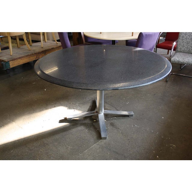 Zographos Beveled Marble Top Table With Steel Base - Image 2 of 6