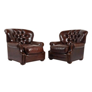 Vintage Regency-style Leather Club Chairs - a Pair