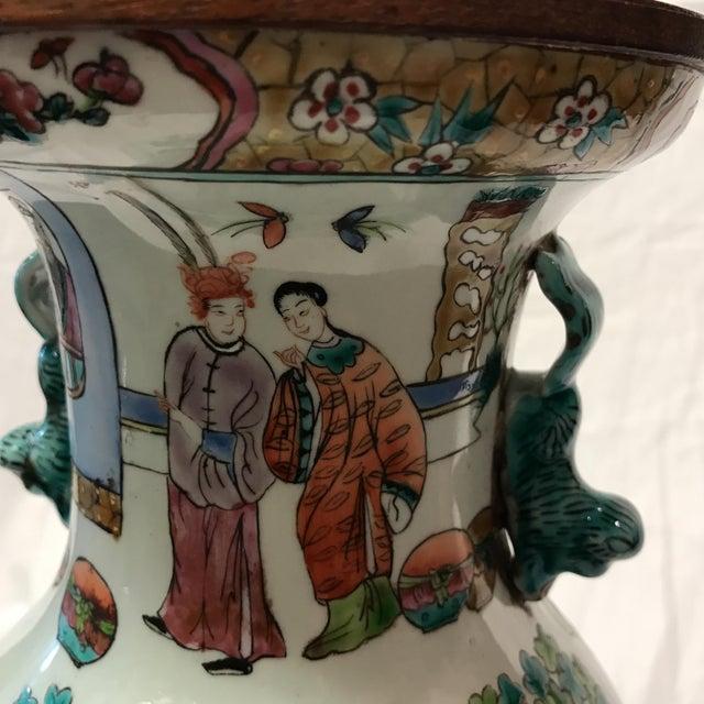 Antique Japanese Porcelain & Wood Lamp - Image 11 of 11