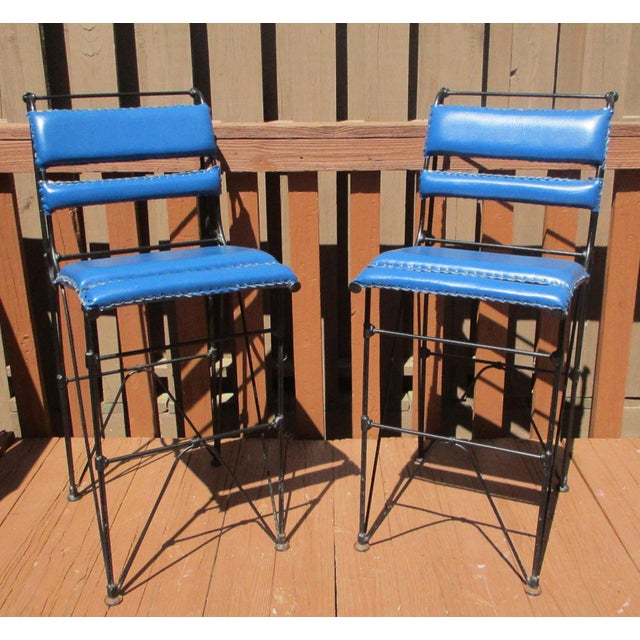 Illana Goor Leather Wrought Iron Bar Stools - Pair - Image 2 of 11