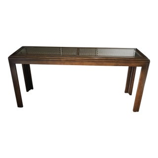 Cane & Glass Inset Top Sofa Table