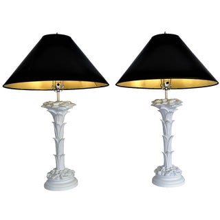 Vintage Serge Roche Style Palm Lamps - a Pair