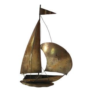 Mid-Century Brass Sailboat