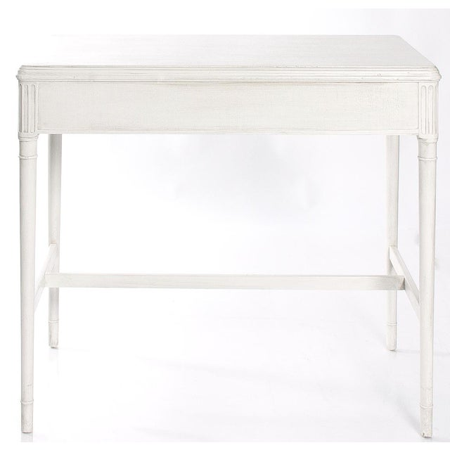 1940s Newly Refinished White Painted Writing Desk/ Vanity by Widdicomb - Image 4 of 7
